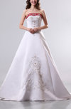 Classic Garden A-line Satin Court Train Embroidery Bridal Gowns