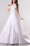 Victorian Church Princess Satin Court Train Beaded Bridal Gowns
