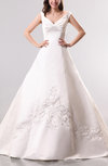 Cinderella Outdoor A-line V-neck Satin Ruching Bridal Gowns