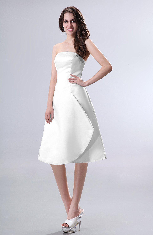 White Simple A Line Strapless Zipper Knee Length Draped