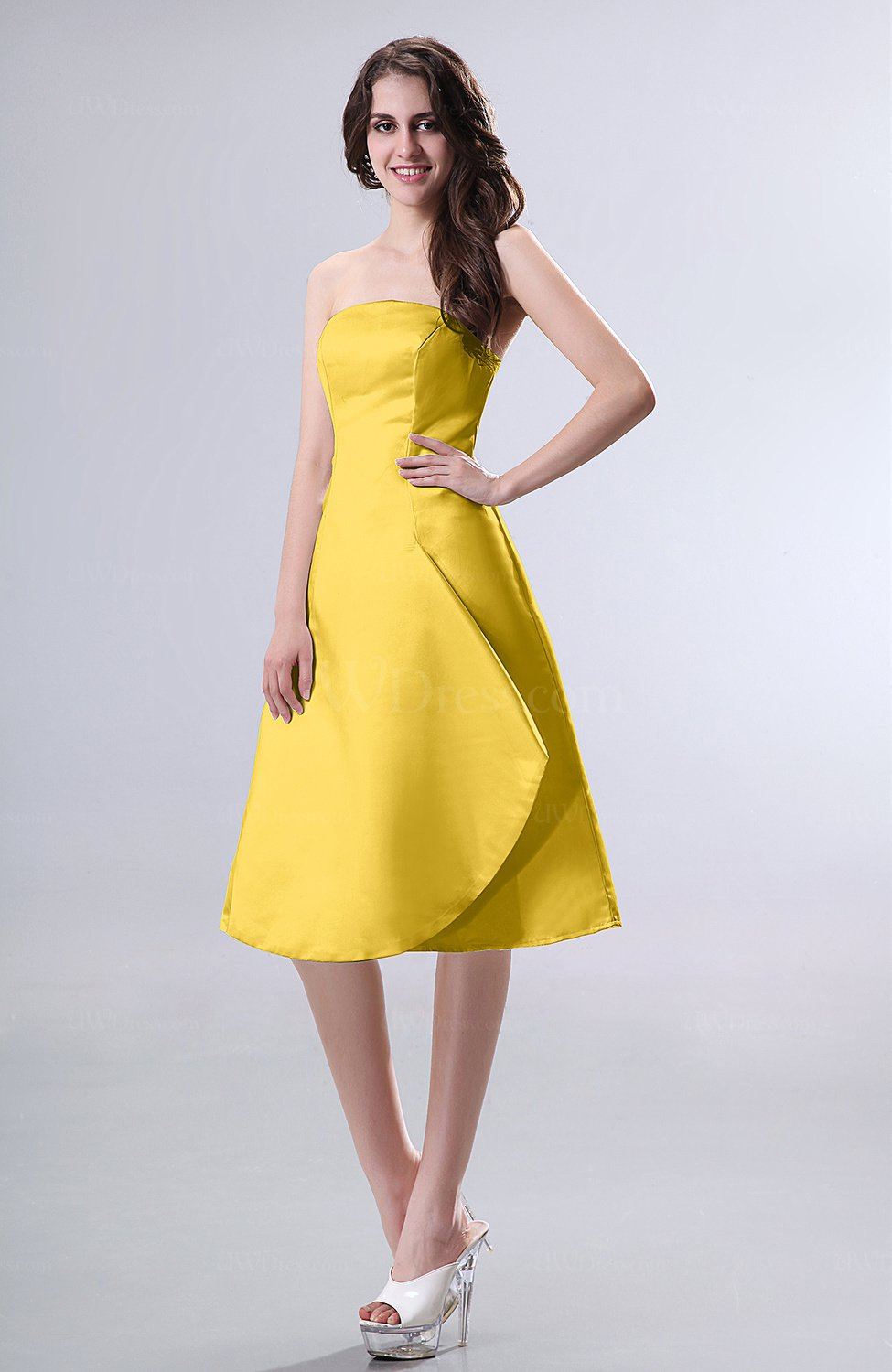 Yellow Simple A Line Strapless Zipper Knee Length Draped