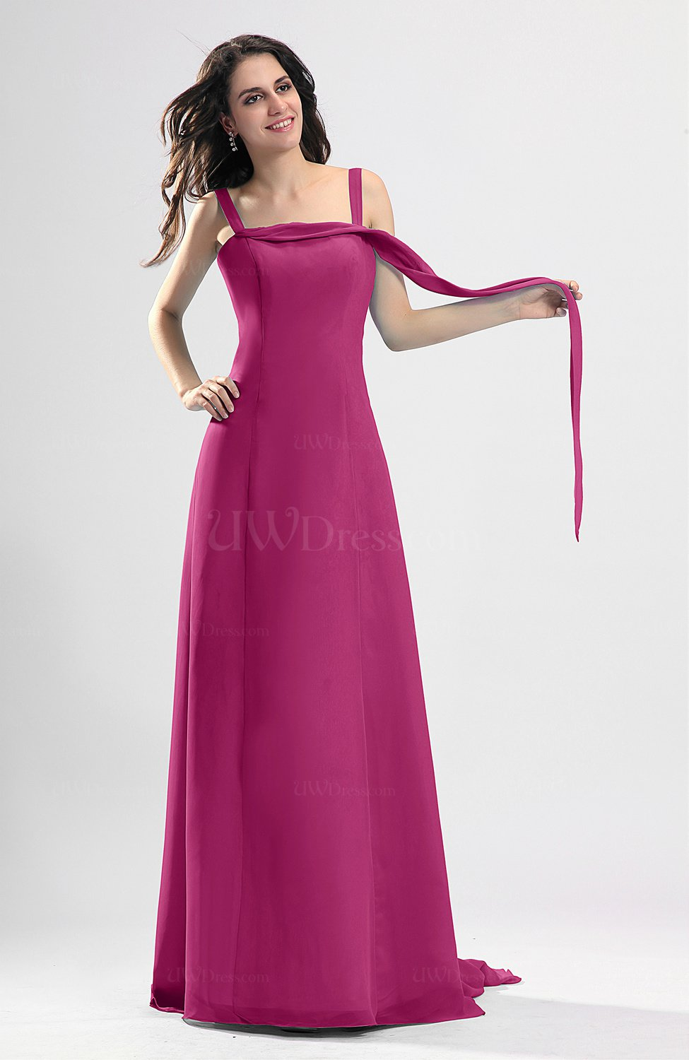 Hot Pink Simple Column Thick Straps Sleeveless Chiffon Pleated Wedding Guest Dresses