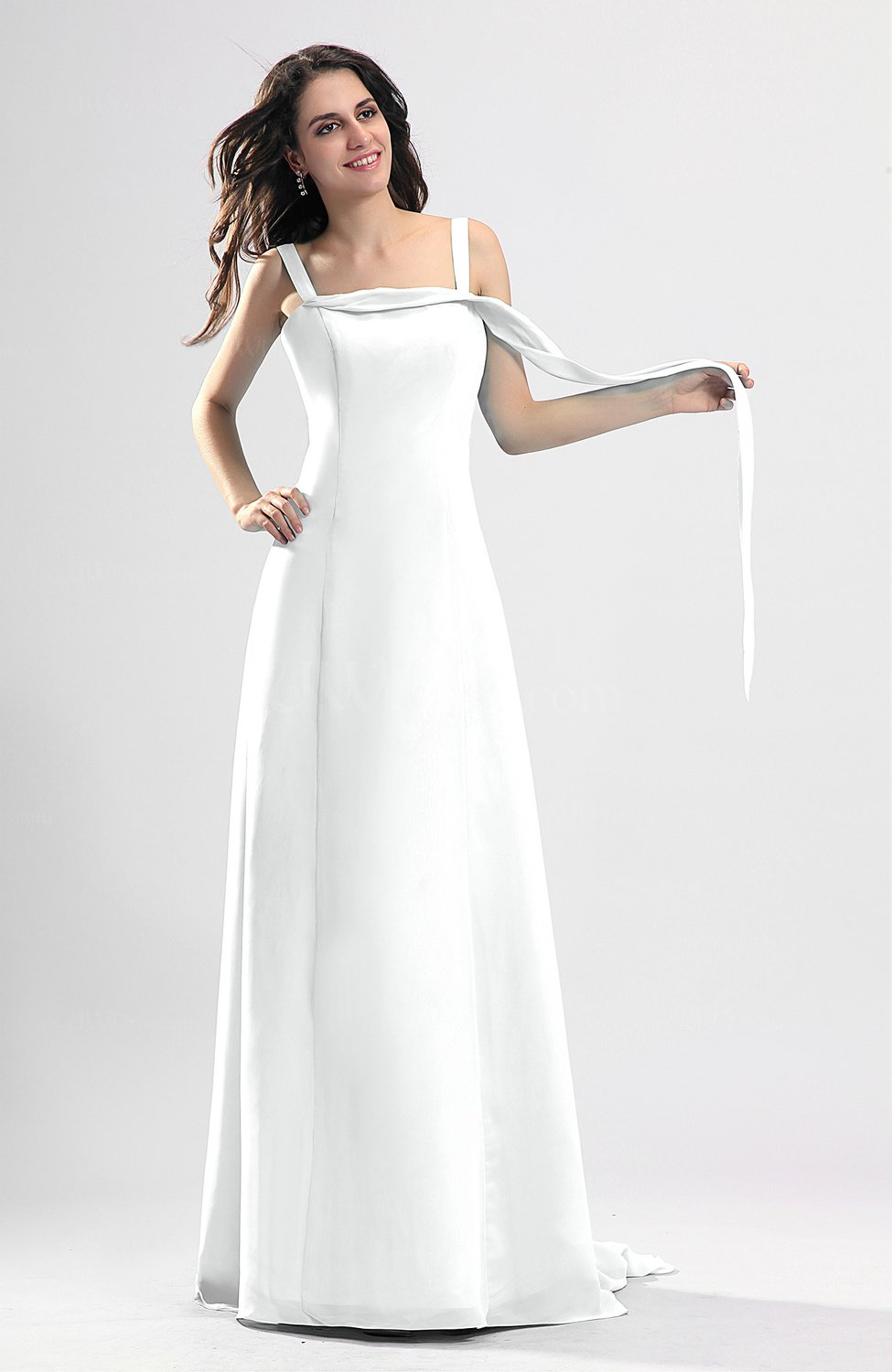 White Simple Column Thick Straps Sleeveless Chiffon