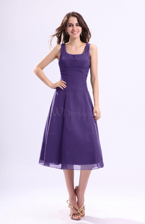 Dark Purple Simple A Line Square Sleeveless Zip Up Wedding Guest Dresses