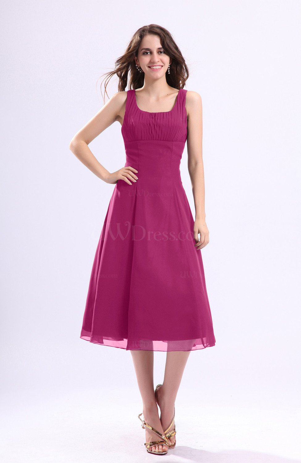 Hot Pink Simple A Line Square Sleeveless Zip Up Wedding Guest Dresses