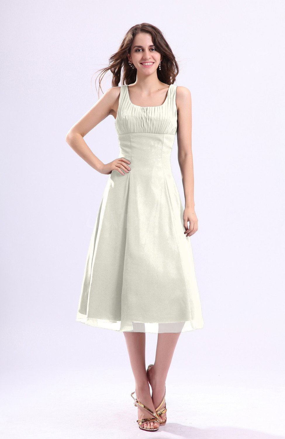 98ac71c2902a4 Ivory Simple A-line Square Sleeveless Zip up Wedding Guest Dresses ...
