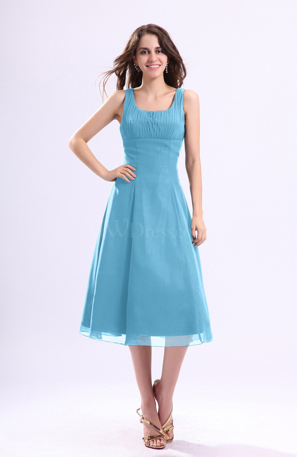 896e5352d35 Light Blue Simple A-line Square Sleeveless Zip up Wedding Guest Dresses  (Style D96656)