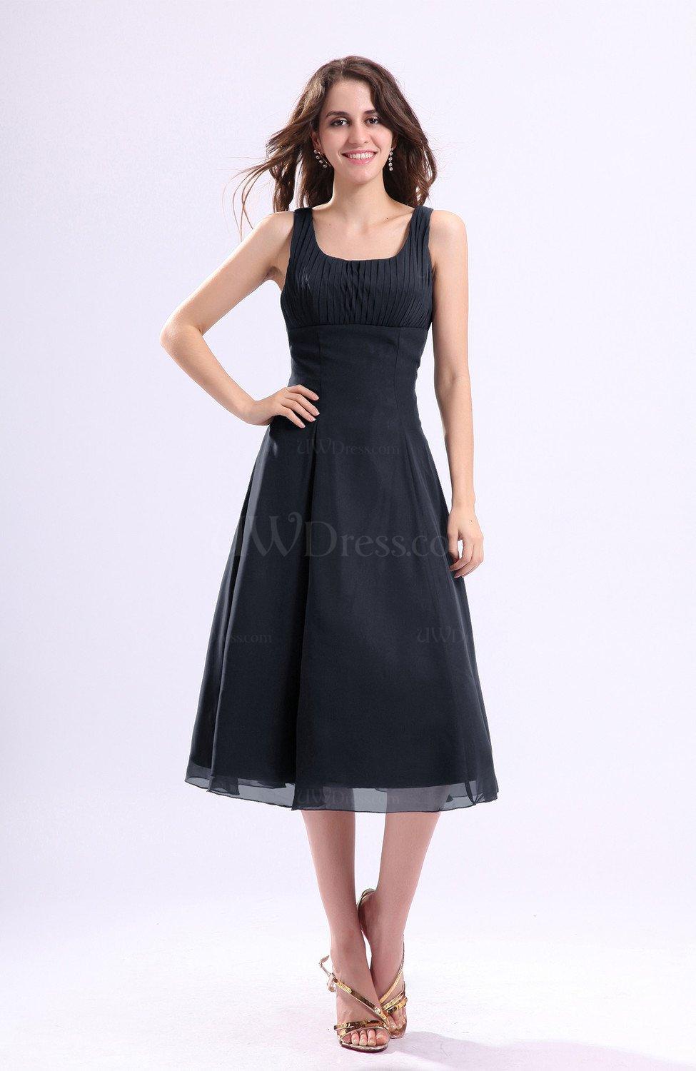Navy Blue Simple A Line Square Sleeveless Zip Up Wedding Guest Dresses