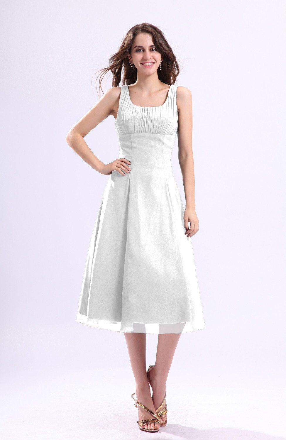 dedabf779f3 White Simple A-line Square Sleeveless Zip up Wedding Guest Dresses (Style  D96656)