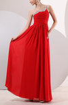 Elegant Empire Asymmetric Neckline Chiffon Floor Length Ruching Homecoming Dresses