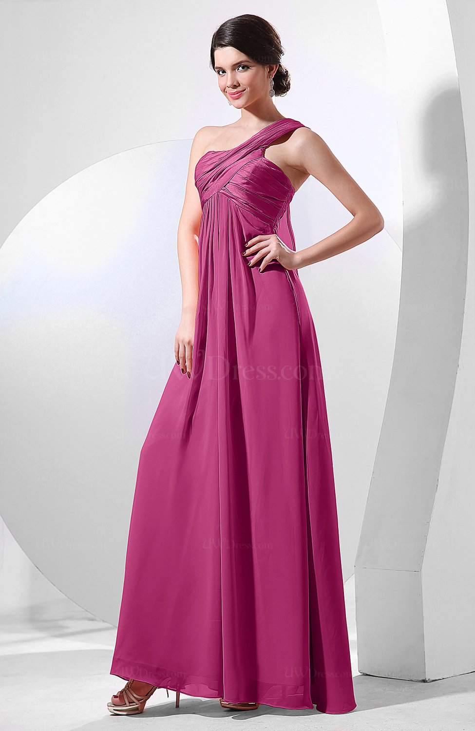 8ebbed2f28a Hot Pink Elegant Empire One Shoulder Sleeveless Chiffon Bridesmaid Dresses  (Style D90601)