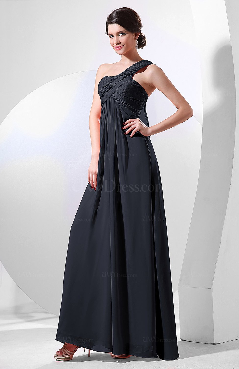 130f29f9a31 Navy Blue Elegant Empire One Shoulder Sleeveless Chiffon Bridesmaid Dresses  (Style D90601)