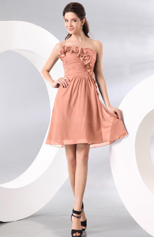 7d8e6d9a7c6 Plain A-line Strapless Sleeveless Zipper Knee Length Homecoming Dresses