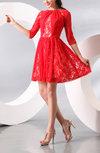 Antique Jewel Half Length Sleeve Zip up Bridesmaid Dresses