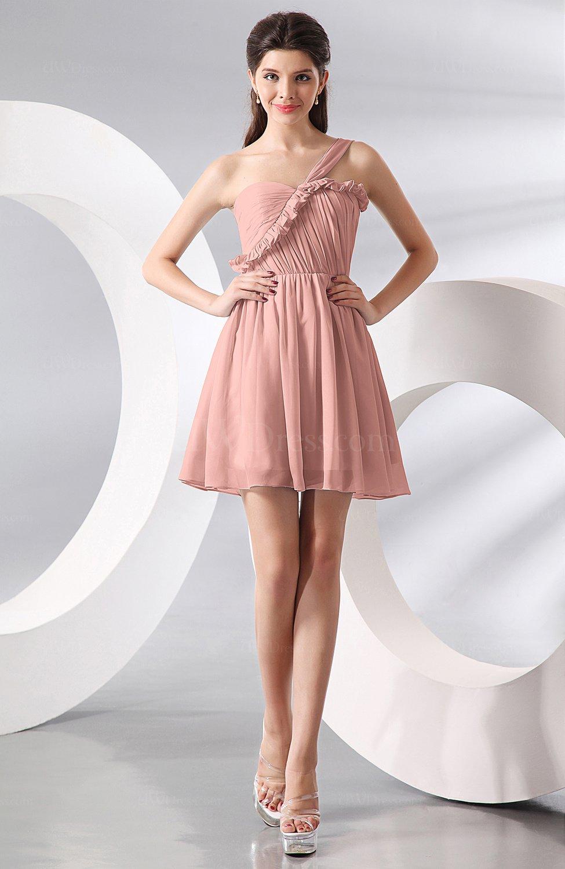Peach Elegant A Line One Shoulder Chiffon Short Ruching Wedding Guest Dresses