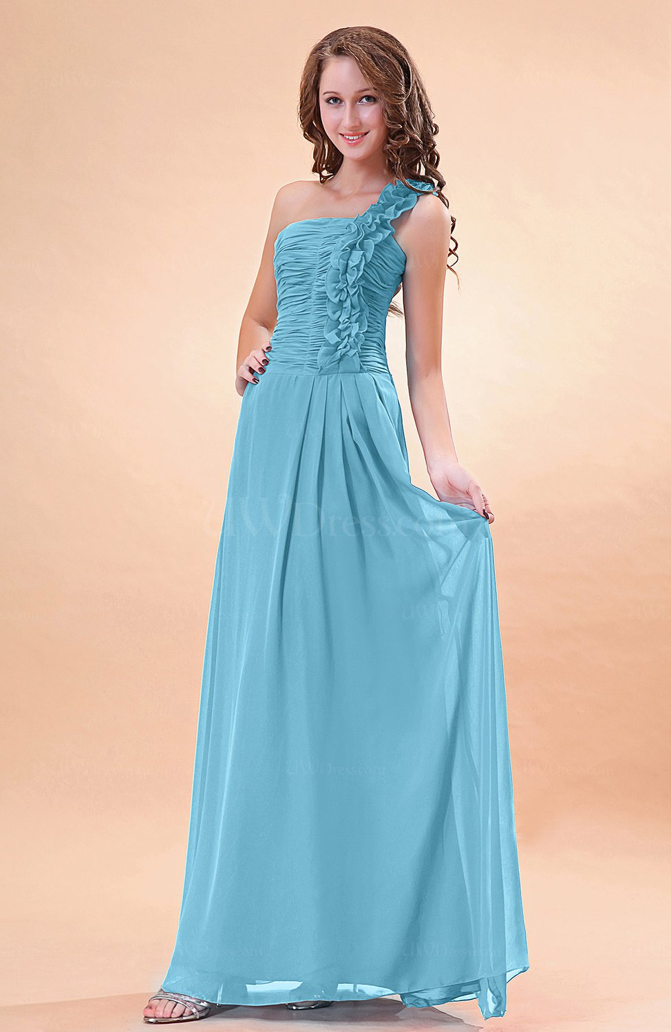 Light Blue Modern A Line One Shoulder Zip Up Chiffon Floor
