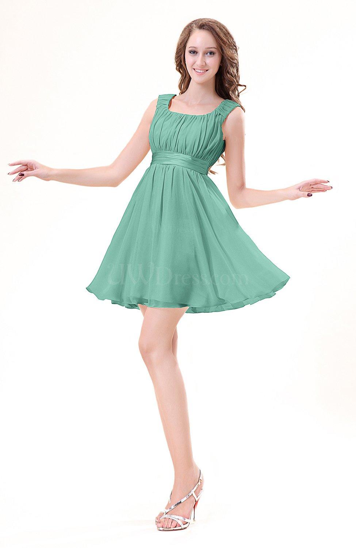 Mint Green Modest Sleeveless Zipper Chiffon Ribbon Wedding ...