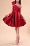 Cute Sleeveless Backless Elastic Woven Satin Knee Length Prom Dresses