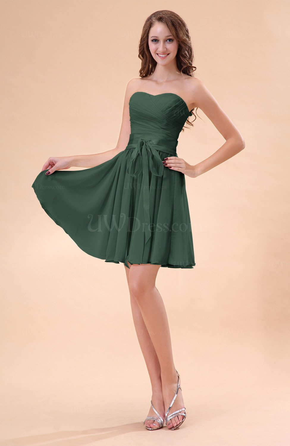 cd191272af0 Hunter Green Cute A-line Sweetheart Zip up Chiffon Sash Bridesmaid ...