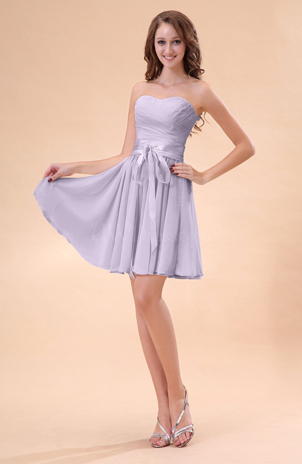 73bf9d6fa51 Light Purple Cute A-line Sweetheart Zip up Chiffon Sash Bridesmaid Dresses  (Style D50627)