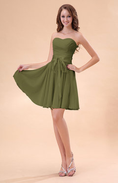 34fff58a5cc Olive Green Cute A-line Sweetheart Zip up Chiffon Sash Bridesmaid Dresses