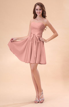 3f5897d30964 Peach Cute A-line Sweetheart Zip up Chiffon Sash Bridesmaid Dresses