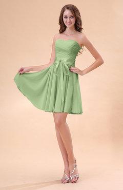 07c63dff5e5 Sage Green Cute A-line Sweetheart Zip up Chiffon Sash Bridesmaid Dresses