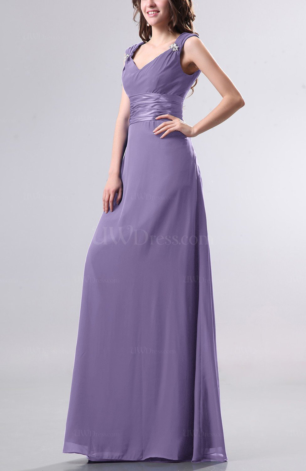 32592d4cb08 Chalk Violet Elegant Empire Thick Straps Chiffon Floor Length Ruching Evening  Dresses (Style D88210)
