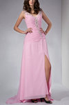 Glamorous Column Zip up Brush Train Rhinestone Evening Dresses