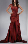 Romantic Trumpet Asymmetric Neckline Zip up Taffeta Court Train Evening Dresses