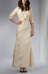 Mature Column 3/4 Length Sleeve Taffeta Ankle Length Ruching Evening Dresses