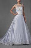 Disney Princess Garden Sleeveless Satin Chapel Train Embroidery Bridal Gowns