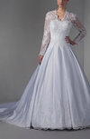 Disney Princess Hall A-line Long Sleeve Zipper Pleated Bridal Gowns