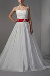 Medieval Church A-line Sleeveless Lace up Taffeta Bridal Gowns