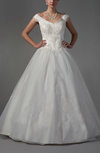 Classic Garden Off-the-Shoulder Sleeveless Lace up Organza Floor Length Bridal Gowns
