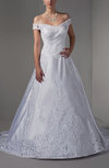 Elegant Hall Off-the-Shoulder Lace up Satin Court Train Appliques Bridal Gowns