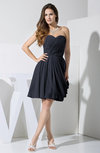 Elegant Column Sweetheart Chiffon Knee Length Pleated Little Black Dresses