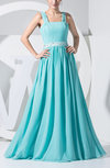 Simple Sleeveless Zip up Chiffon Beaded Evening Dresses