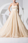 Fairytale Outdoor A-line Sleeveless Zip up Sweep Train Ribbon Bridal Gowns