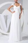 Elegant Hall Sheath Queen Anne Sleeveless Chiffon Ribbon Bridal Gowns