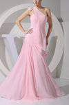 Elegant A-line Asymmetric Neckline Zipper Floor Length Pearls Prom Dresses