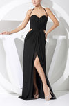 Sexy Sheath Halter Sleeveless Chiffon Split-Front Evening Dresses