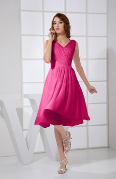 10068ed7de85f Beetroot Purple Plain A-line V-neck Sleeveless Knee Length Prom Dresses