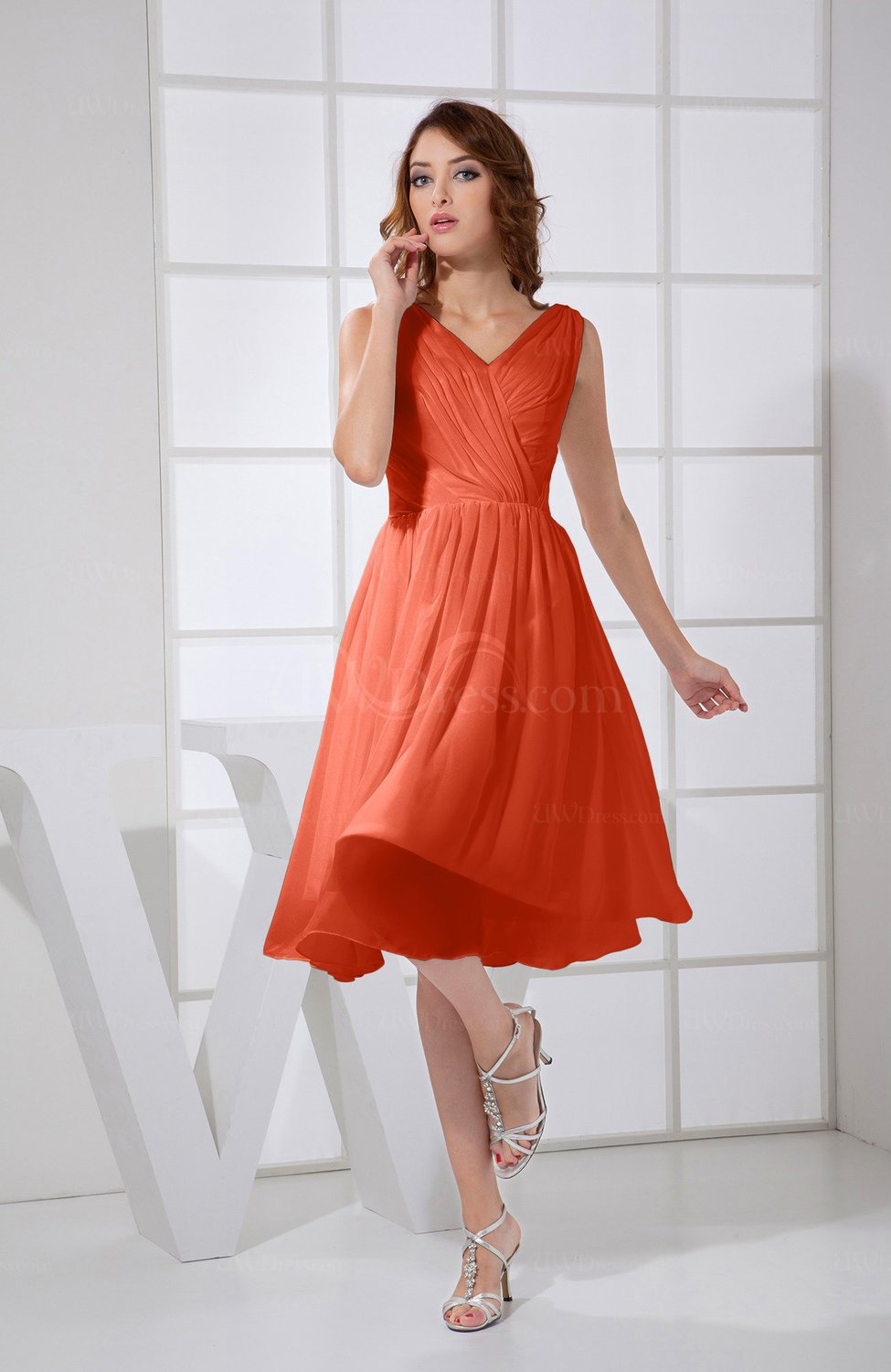 09ec6bac62d3 Persimmon Plain A-line V-neck Sleeveless Knee Length Prom Dresses (Style  D95245)