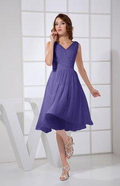 2f6dbb6086 Royal Purple Plain A-line V-neck Sleeveless Knee Length Prom Dresses