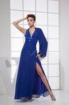 Sexy V-neck Long Sleeve Backless Floor Length Split-Front Prom Dresses