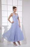 Modest A-line V-neck Sleeveless Criss-cross Straps Chiffon Bridesmaid Dresses