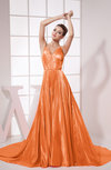 Modest A-line Zipper Elastic Woven Satin Chapel Train Pleated Prom Dresses