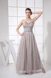 Modest A-line Floor Length Beading Prom Dresses