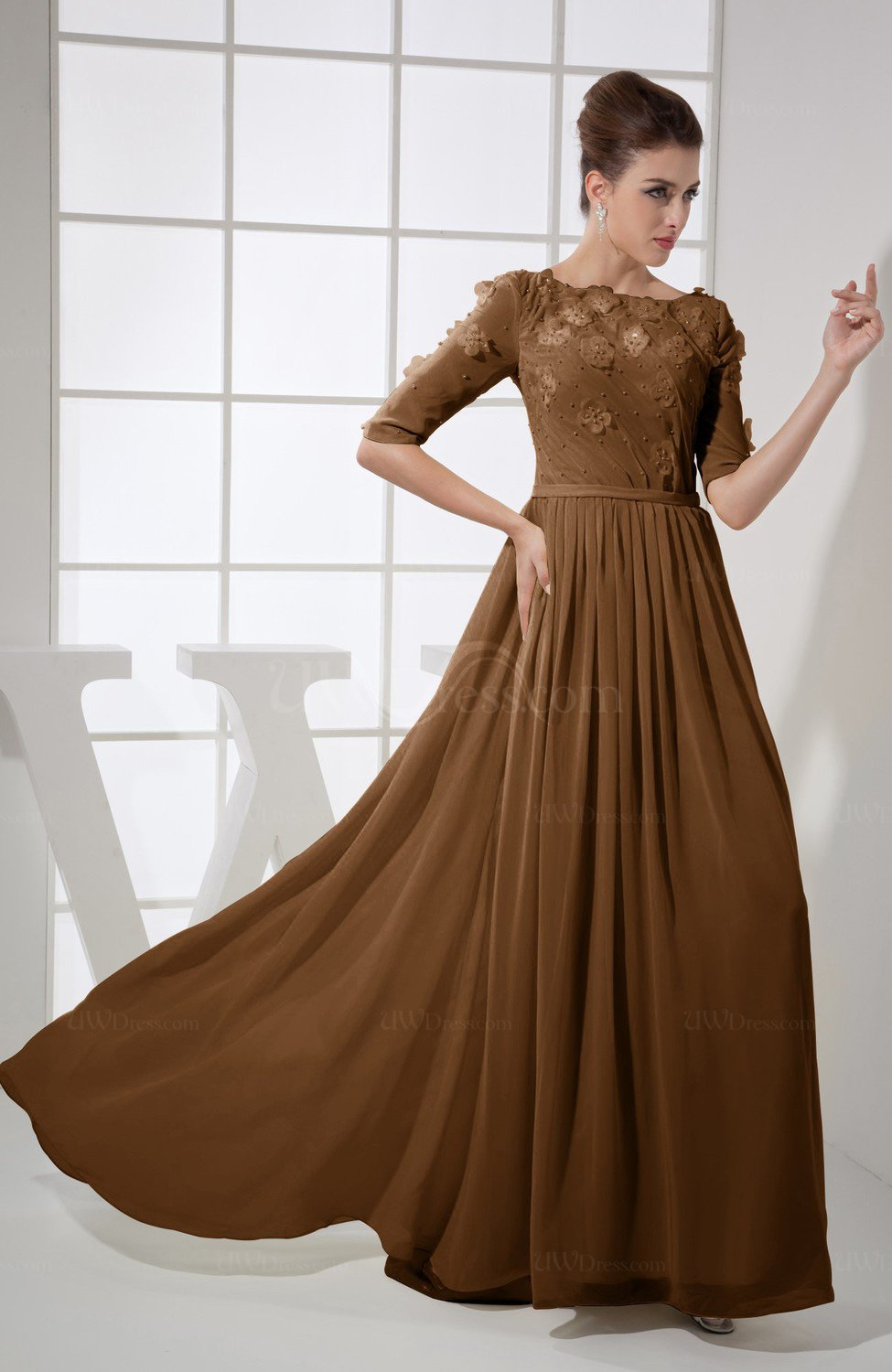 acff4a5af23b Brown Vintage A-line Elbow Length Sleeve Chiffon Brush Train Beaded  Graduation Dresses (Style D19167)
